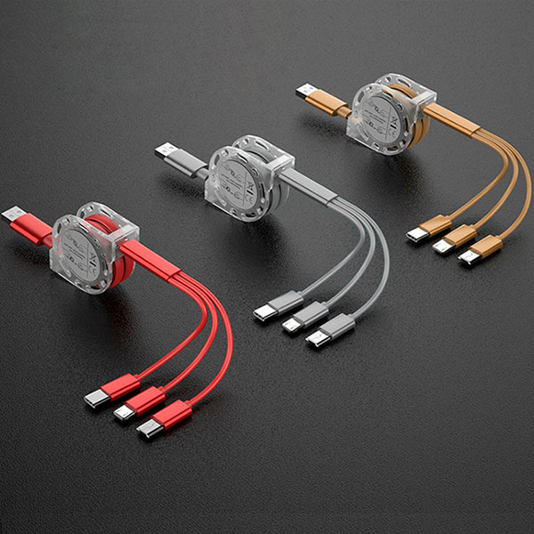 Hot selling Telescopic 2.1A 3 in 1 charger micro usb cable Type C mobile phone charging cable